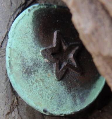 copper nail head with star
